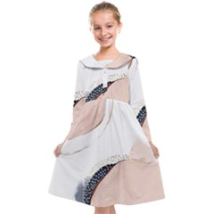 Pink And Blue Marble Kids  Midi Sailor Dress