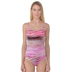 Pink Abstract Stripes Camisole Leotard