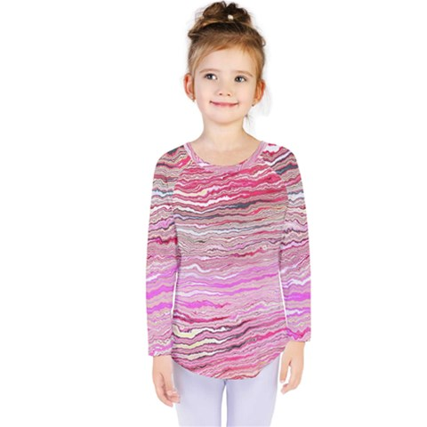 Pink Abstract Stripes Kids  Long Sleeve Tee by SpinnyChairDesigns