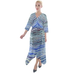 Blue Abstract Stripes Quarter Sleeve Wrap Front Maxi Dress by SpinnyChairDesigns