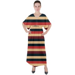 Seventies Stripes V-neck Boho Style Maxi Dress