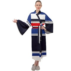 Casual Uniform Stripes Maxi Velour Kimono