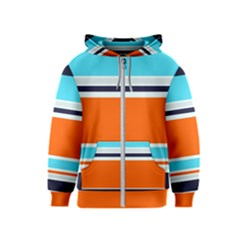 Tri Color Stripes Kids  Zipper Hoodie