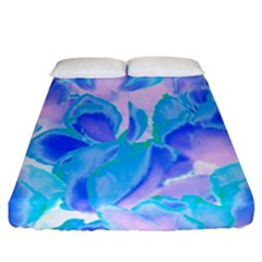 Ciclamen Flowers Blue Fitted Sheet (california King Size) by Cveti