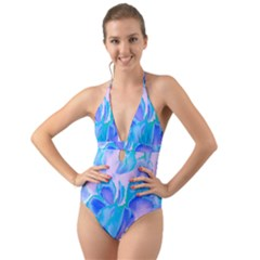 Ciclamen Flowers Blue Halter Cut-out One Piece Swimsuit by Cveti