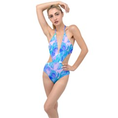 Ciclamen Flowers Blue Plunging Cut Out Swimsuit by Cveti
