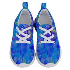 Blue Abstract Floral Paint Brush Strokes Running Shoes