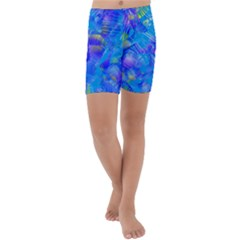 Blue Abstract Floral Paint Brush Strokes Kids  Lightweight Velour Capri Yoga Leggings by SpinnyChairDesigns