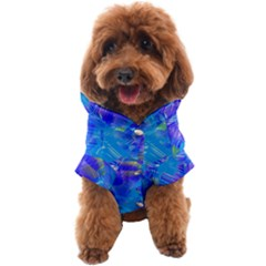 Blue Abstract Floral Paint Brush Strokes Dog Coat