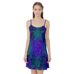 Indigo Abstract Art Satin Night Slip