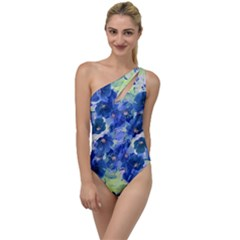 Blue Prim Roses To One Side Swimsuit by Cveti