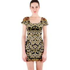 Free As A Flower And Frangipani In  Freedom Short Sleeve Bodycon Dress