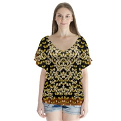 Free As A Flower And Frangipani In  Freedom V-neck Flutter Sleeve Top