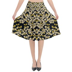 Free As A Flower And Frangipani In  Freedom Flared Midi Skirt