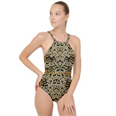 Free As A Flower And Frangipani In  Freedom High Neck One Piece Swimsuit
