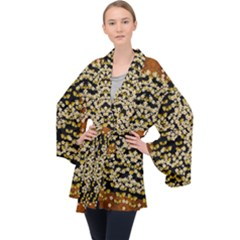 Free As A Flower And Frangipani In  Freedom Long Sleeve Velvet Kimono