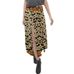 Free As A Flower And Frangipani In  Freedom Velour Split Maxi Skirt