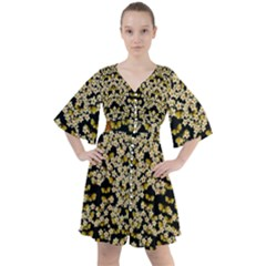 Free As A Flower And Frangipani In  Freedom Boho Button Up Dress