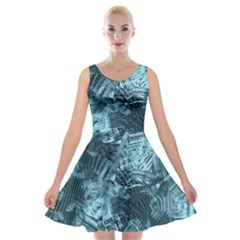 Teal Turquoise Abstract Art Velvet Skater Dress