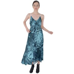 Teal Turquoise Abstract Art Tie Back Maxi Dress