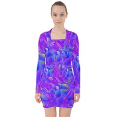 Fuchsia Magenta Abstract Art V-neck Bodycon Long Sleeve Dress