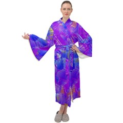 Fuchsia Magenta Abstract Art Maxi Velour Kimono by SpinnyChairDesigns