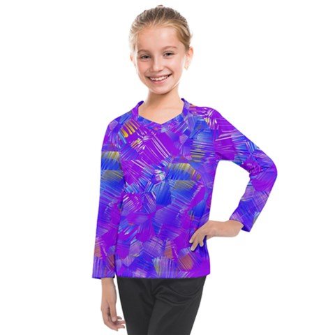 Fuchsia Magenta Abstract Art Kids  Long Mesh Tee by SpinnyChairDesigns
