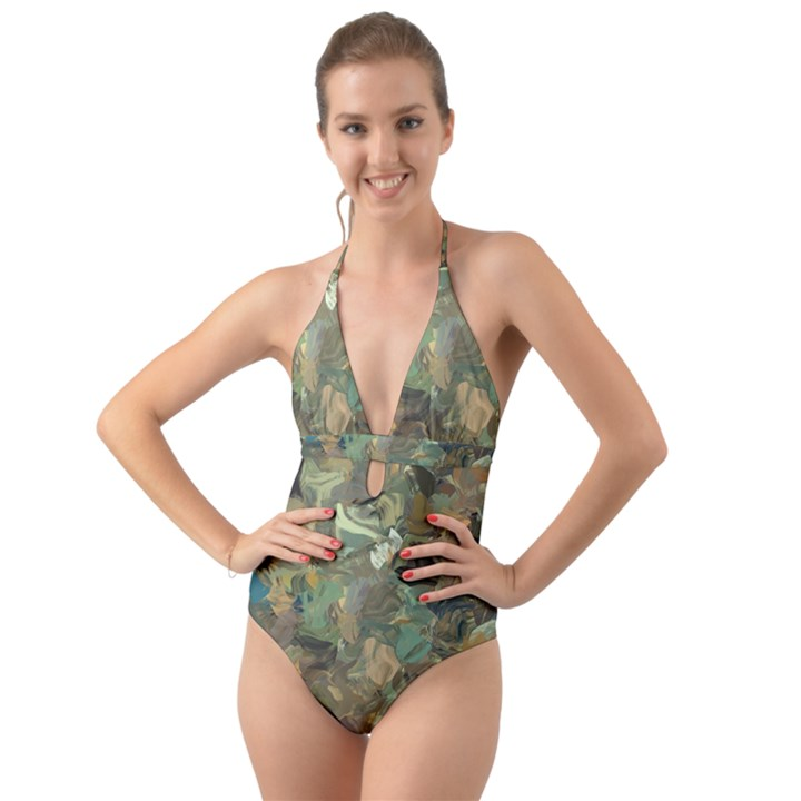 Earth Colors Abstract Art Halter Cut-Out One Piece Swimsuit