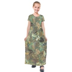 Earth Colors Abstract Art Kids  Short Sleeve Maxi Dress