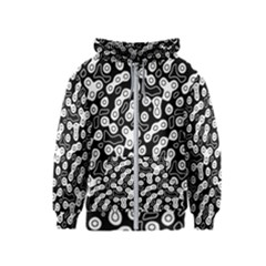 Black And White Abstract Art Kids  Zipper Hoodie