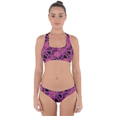 Fuchsia Black Abstract Checkered Stripes  Cross Back Hipster Bikini Set by SpinnyChairDesigns