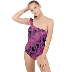 Fuchsia Black Abstract Checkered Stripes  Frilly One Shoulder Swimsuit