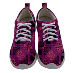 Fuchsia Black Abstract Checkered Stripes  Athletic Shoes by SpinnyChairDesigns