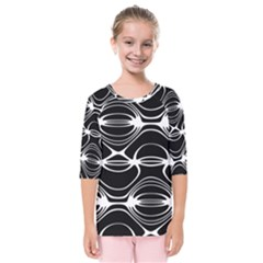 Black And White Clam Shell Pattern Kids  Quarter Sleeve Raglan Tee
