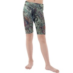 Black Green Grey Abstract Art Marble Texture Kids  Mid Length Swim Shorts
