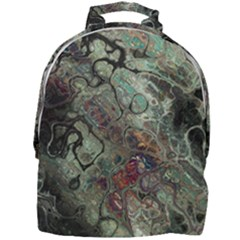 Black Green Grey Abstract Art Marble Texture Mini Full Print Backpack