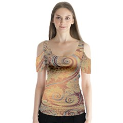 Terra Cotta Persian Orange Spirals Swirls Pattern Butterfly Sleeve Cutout Tee