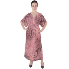 Orchid Pink And Blush Swirls Spirals V-neck Boho Style Maxi Dress by SpinnyChairDesigns