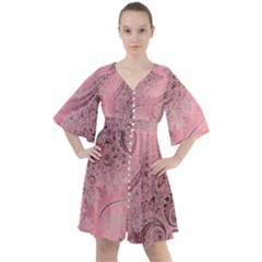 Orchid Pink And Blush Swirls Spirals Boho Button Up Dress by SpinnyChairDesigns