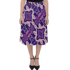 Amethyst And Pink Checkered Stripes Classic Midi Skirt by SpinnyChairDesigns
