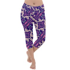 Amethyst And Pink Checkered Stripes Lightweight Velour Capri Yoga Leggings by SpinnyChairDesigns