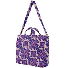 Amethyst And Pink Checkered Stripes Square Shoulder Tote Bag