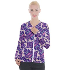 Amethyst And Pink Checkered Stripes Casual Zip Up Jacket by SpinnyChairDesigns