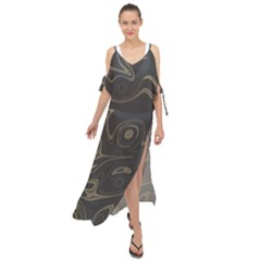 Taupe Umber Abstract Art Swirls Maxi Chiffon Cover Up Dress