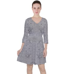 Silver Grey Decorative Floral Pattern Ruffle Dress