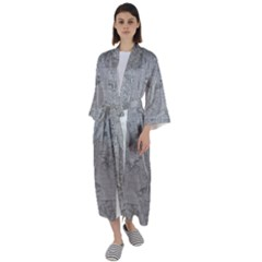 Silver Grey Decorative Floral Pattern Maxi Satin Kimono by SpinnyChairDesigns