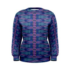 Purple Blue Ikat Stripes Women s Sweatshirt by SpinnyChairDesigns