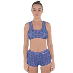 Purple Blue Ikat Stripes Racerback Boyleg Bikini Set