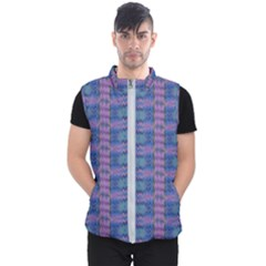 Purple Blue Ikat Stripes Men s Puffer Vest