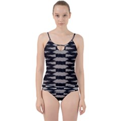 Black And White Zebra Ikat Stripes Cut Out Top Tankini Set